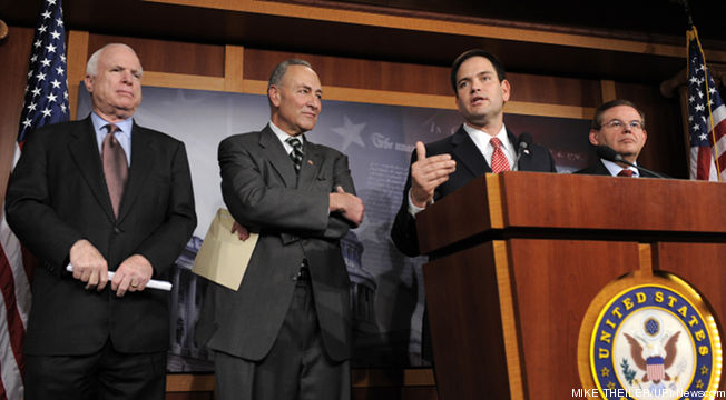 Half of the bipartisan senate immigration committee. Picture courtesy www.talkingpointsmemo.com