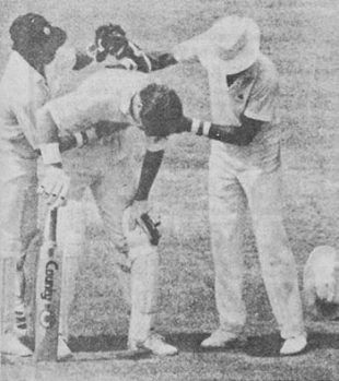 Dean Jones vomiting at Chepauk 1986 courtesy Wisden
