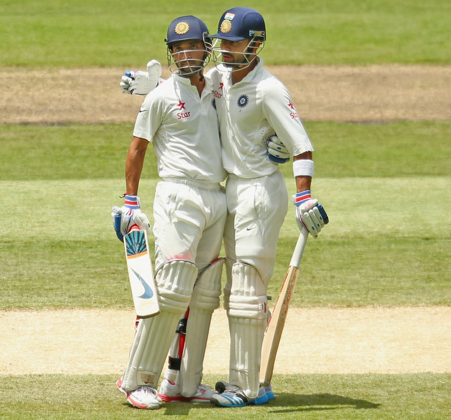 Image of ajinkya Rahane and Virat Kohli published under the Creative Commons license from www.cricinfo.com
